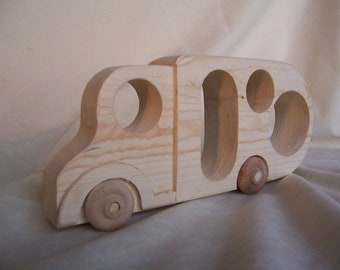 Toy Motorhome Truck for Child's Camping Trip Handcrafted from Recycled Wood