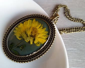 Valentines Day Gifts epoxy Flower pendant ECO  resin necklace Dried yellow Flower pendant Botanical pendant pressed flowers Christmas gift