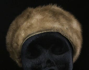 Mink Fur Hat - Vintage 1960s Light Brown Mink Tam - Genuine Fur - Close-Fitting Satin Band - 60s Winter Head Gear - Bamberger's - 49134