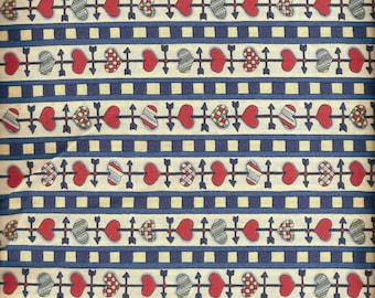 Vintage Quilt Fabric / Susan Winget 1995 Fabric Traditions / By the Yard Red Blue Red Weathervane / 100% Cotton / Country Farmhouse / Stash