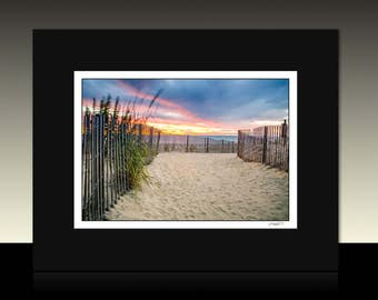 Seascape Matted Print, Beach theme decor, Sunrise wall art, Ready for framing or framed