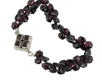 Garnet  Sterling  Silver  Luxe  Minimalist  Geometric   Bracelet  Statement Semi-Precious  for Her Under 425, US Free Shipping Gift Wrap
