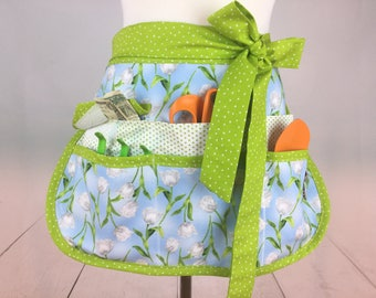 Spring Tulips Half Vendor/Utility Sassy Apron, Womens Regular and Plus Sizes, 6/8 Pockets, great for Teachers, Gardening, Crafts