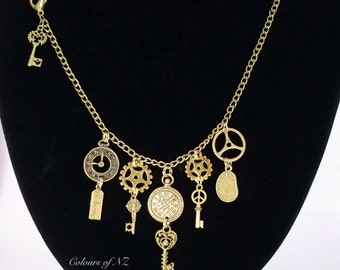 Antiqued Brass Steampunk Necklace
