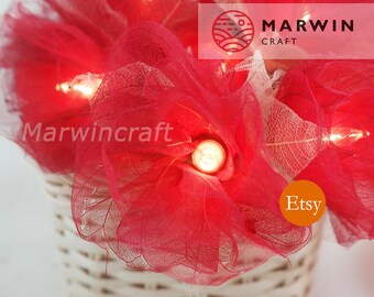 Battery or Plug 20 Red Carnation Flower Fairy String Lights Hanging Party Patio Wedding Garland Gift Home Living Bedroom Holiday Decor
