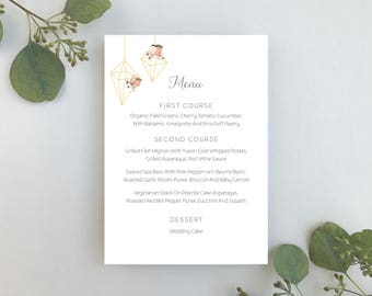 Wedding Menu / Terrarium Floral Invitation Suite / Blush Floral Weddings / #1118