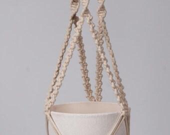 Macrame plant hanger, macrame hanging flowerpot, plant hanging the braided cotton cord 3 mm.