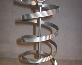 "Black spiral metal vintage 1950's clip earring tree, 9.5"" tall, 3"" wide"