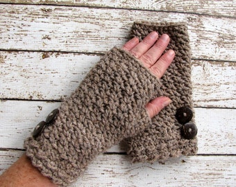 Brown Wool Blend Fingerless Gloves, Taupe Woman's Winter Gloves