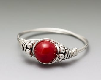 Red Coral Bali Sterling Silver Wire Wrapped Gemstone Bead Ring - Made to Order, Ships Fast!