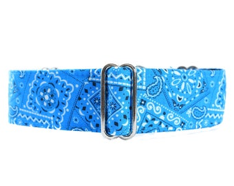 Bandana Martingale Collar, Blue Martingale Dog Collar, 1.5 Inch Martingale Collar, Bandana Dog Collar, Blue Dog Collar, Large Dog Collar