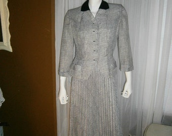 1950's Black and Gray Women Suit by GLENHAVEN