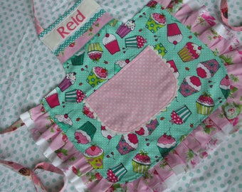 Girls Aprons - Girls Aprons with Cupcake Fabric - Turqoise Girls Apron - Girls Pink Aprons - Girls Aprons with Pockets - Annies Attic Aprons