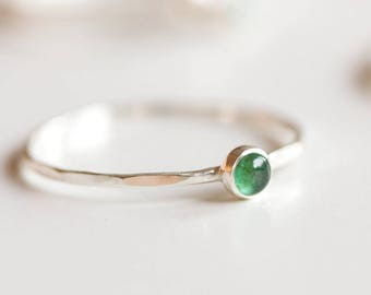 Emerald ring - skinny stackable ring with Emerald stone, May birthstone, sterling silver, 9k gold