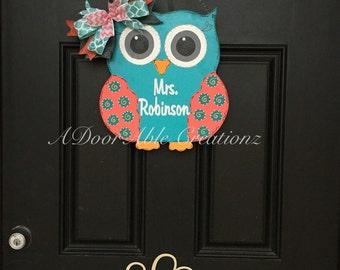 Owl Door Hanger, Teacher Owl Door Hanger, Teacher Gift, Nursery Owl  Door Hanger,Teacher Christmas Gift, Gift for Teacher, Classroom Gift