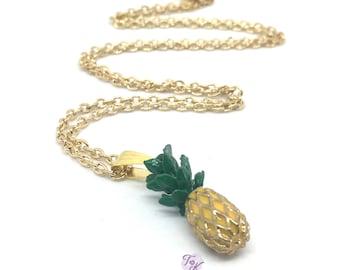 Pineapple Necklace, Pineapple Pendant, Fruit Necklace, Tropical Necklace, Pineapple Jewelry, 3D Pineapple Necklace, Millennial Necklace