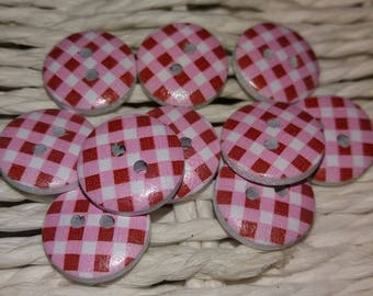 set of 10 buttons square rose wood