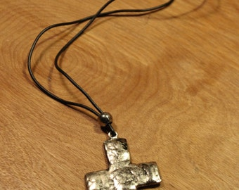 Silver Cross on Black Necklace, item 149