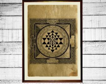Sri Yantra print, sacred geometry print,tantric poster,  mystic print, occult antique tantra print aged paper