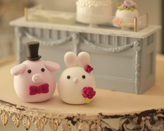 Bunny, Rabbit  and Pig wedding cake topper