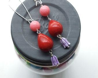 radish rhapsody earrings - pink, red, purple - flower jewellery - sterling silver and vintage beads