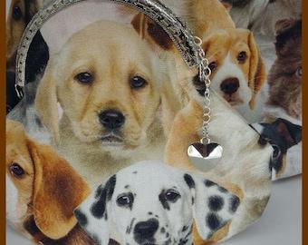 "Dogs ""machine"" fabric pattern wallet"