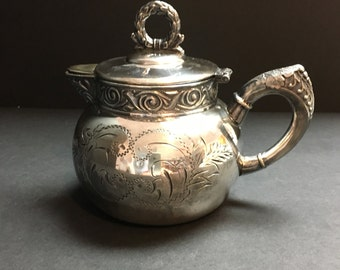 Antique Victorian Quadruple Silver Plate Cream Pitcher with Hinged Lid Anniversary Wedding Gift