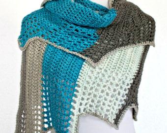 Crochet Pattern Wrap Shawl Cowl Scarf, Blue Ridge, PDF 16-260