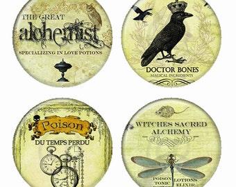 Dr Bones sorcières alchimie sacrée Poison du TempsPerdu amour Potions aimants ou Pinback Buttons ou Flatback médaillons Set de 4
