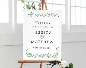 Modern Botanical Printable Welcome Sign Poster - Wedding Welcome Sign - Wedding Reception Sign Printable Wedding Signs - (Item code: P1015)