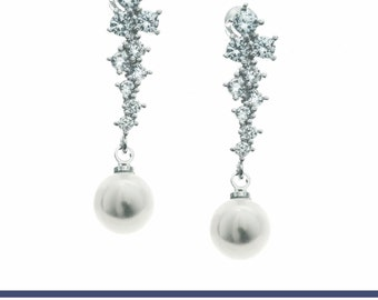 Pearl Earrings, CZ Wedding Jewelry, Bridal Earrings, Wedding Jewelry, CZ Pearl Earrings, Crystal CZ Jewelry, Pearl Jewelry, Drop Earrings