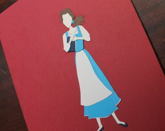 Belle : Fantasy PaperScapes, Handmade, Disney, Beauty and the Beast, Framed Papercut Art