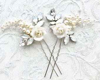 White Opal rhinestone floral bridal hairpiece, hair pins, wedding hair pins, opal hairpins, wedding accessories, bridal hair pins DANA