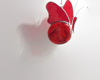 Butterfly Suncatcher Red Glass - Stained Glass Mobile - Home Garden Decor, Gifts Under 30, Nursery Mobile, Glass Sun Catcher, Cute Butterfly