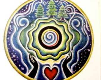 Earth Blessing Mandala Sticker- 3 inch  visual prayer for the earth Mandala