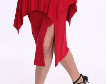 Red Tango Skirt with a Slit, a Skirt for Tango, Milonga Skirt, Jupe Tango, Tango Argentin, Tenue de Tango Rojo