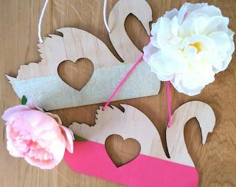 Wall art. Swan wall art. Timber swan with heart cutout. Timber wall hanging.