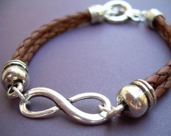 Leather Infinity Bracelet, Leather Bracelet, Infinity Bracelet,  Men, Women , Unisex, Saddle Brown, Braided, Mens Bracelet, Womens Bracelet
