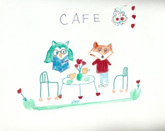 Frank Fox and Octavius Owl have Coffee, Friends, Decor, Greeting Cards, Lilymoonsigns,