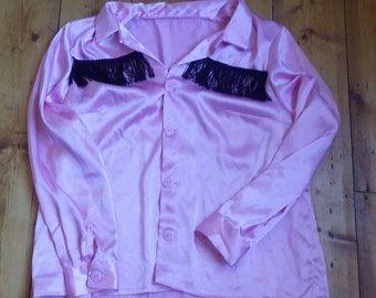 ladies vintage cowgirl shirt in pink, approx size 16