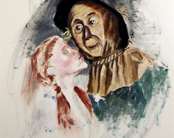 Wizard OF oz, Dorothy Oz art, scare crow art, scarecrow art, scarecrow oz art, scarecrow and dorothy, Print Painting Wall Art