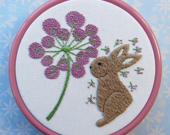 Rabbit Embroidery Kit, Hand Embroidery, Hoop art, Home Decor