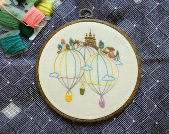 Castle and Fire Balloon - Hand embroidery kit - room decoration DIY kit  Modern embroidery kit Craft kit  Gift DIY
