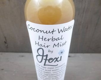 Coconut Water Herbal Hair Mist, coconut hair water, hydrating hair water, leave-in conditioner, hair mist, hair mist, herbal hair water