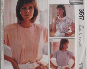 Woman's Day Collection Sewing Pattern - Feminine Pullover Blouse, Petiteable - McCall's 3517 - Sizes 10-12-14, Bust 32 1/2 - 36, Uncut