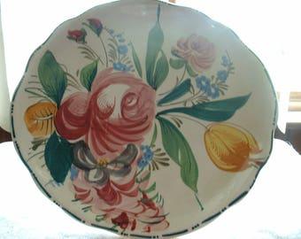 Vintage Italian Hand Painted Cake Plate Pedestal.
