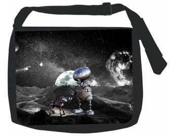 Robot and Dog in Space Galaxy - Black School Shoulder Messenger Bag