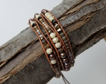 Triple Wrap Leather Pearl Beaded Bracelet