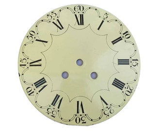 French Enamel Clock Dial. Antique Clock Face. Steampunk Decor.