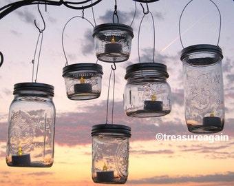 Hanging Wide Mouth Mason Jar Luminary Lantern LIDS. DIY Outdoor Wedding Candle Holders